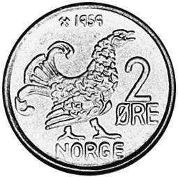 1959-1972 Norway 2 Ore reverse