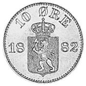 1875-1903 Norway 10 Ore reverse