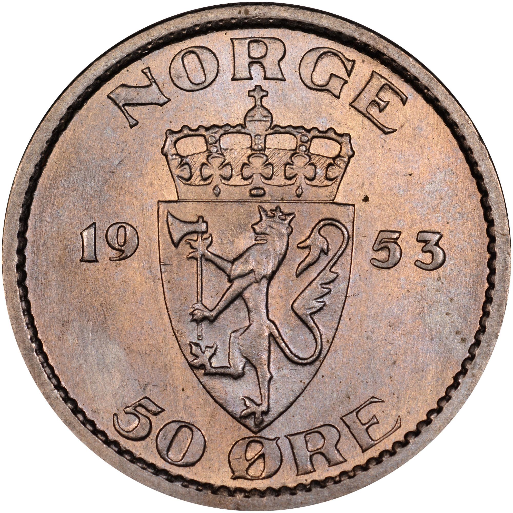 1953-1957 Norway 50 Ore reverse
