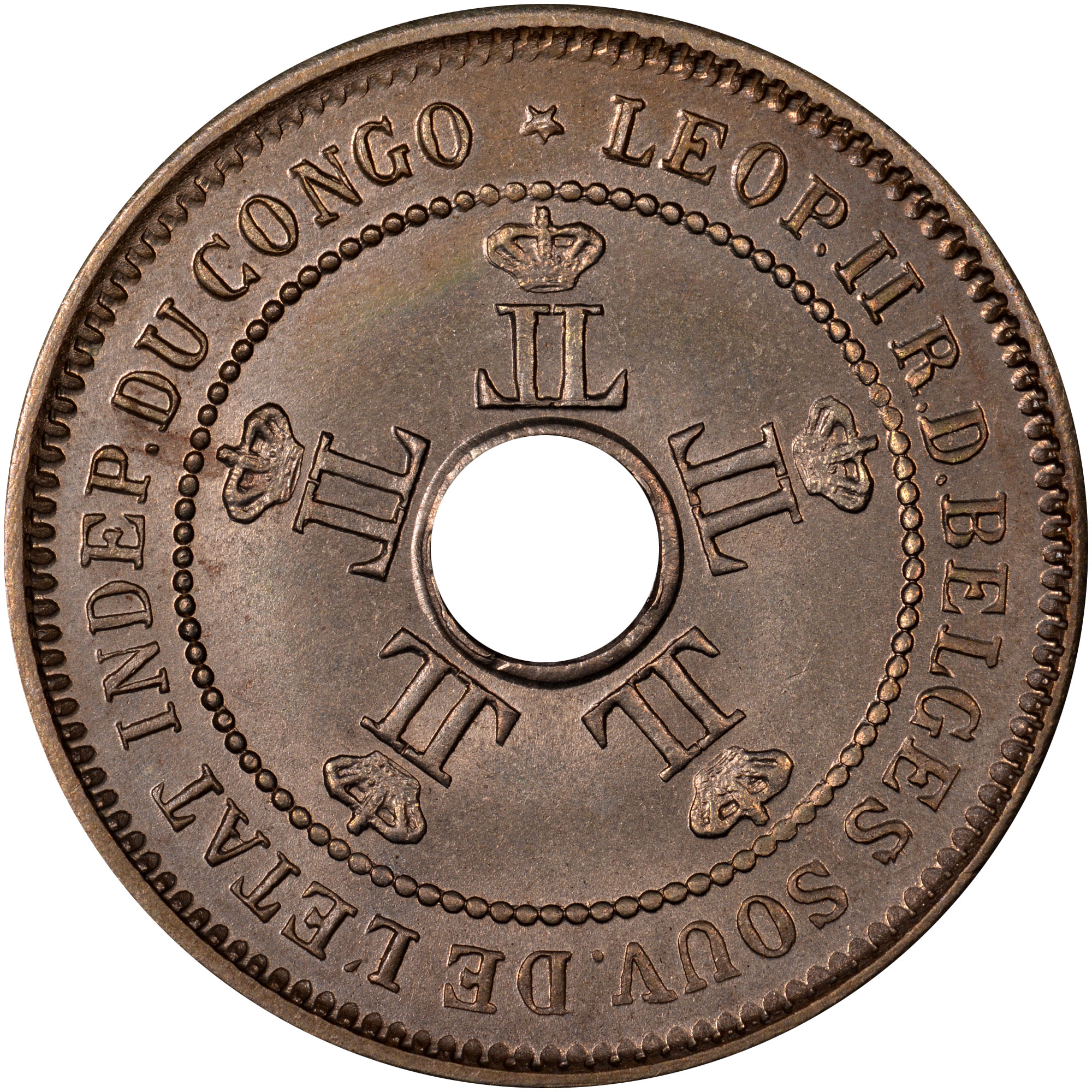 1906-1908/6 Congo Free State 5 Centimes obverse