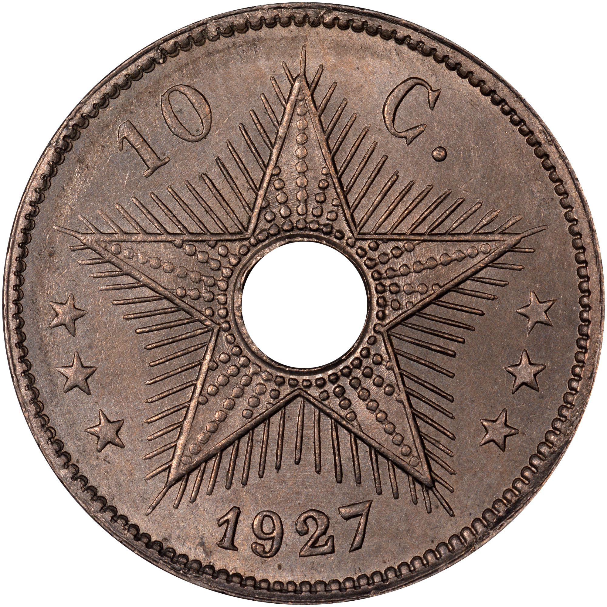1910-1928/7 Belgian Congo 10 Centimes reverse