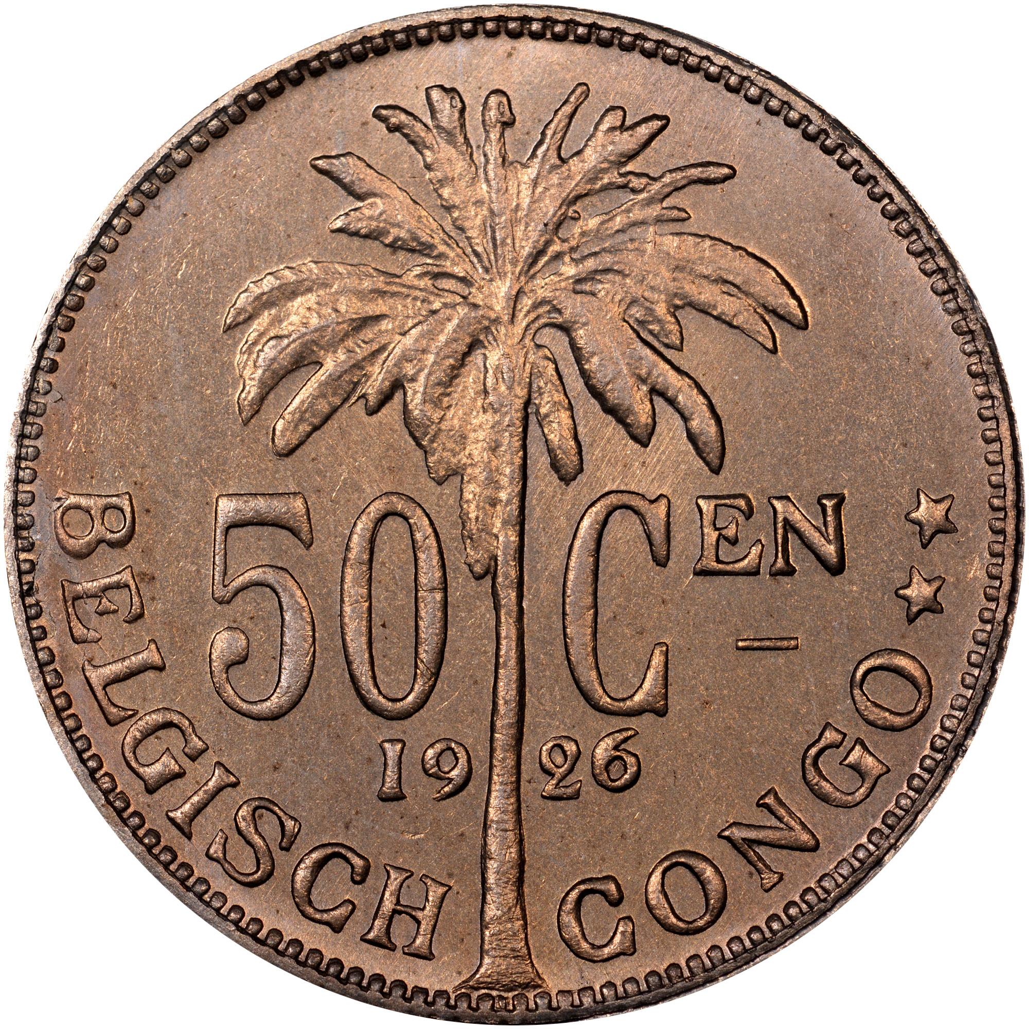 1921-1929/8 Belgian Congo 50 Centimes reverse