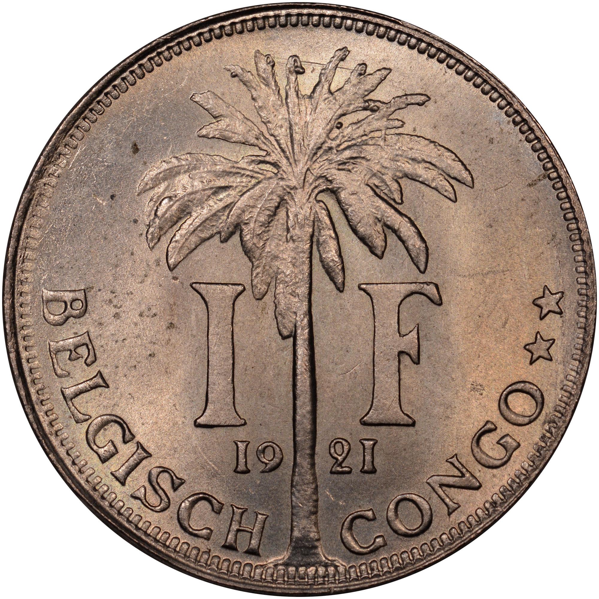 1920-1929 Belgian Congo Franc reverse