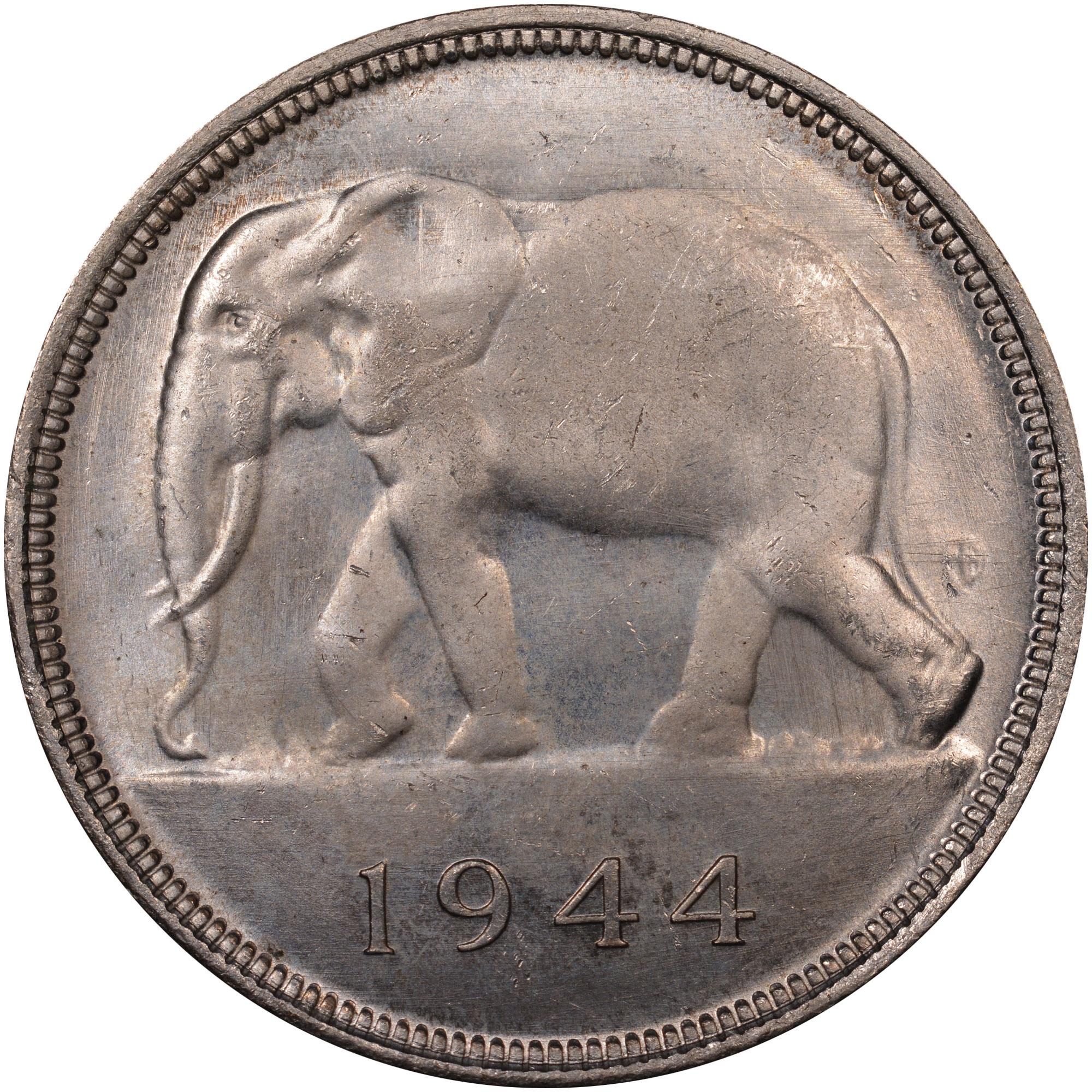 1944 Belgian Congo 50 Francs reverse