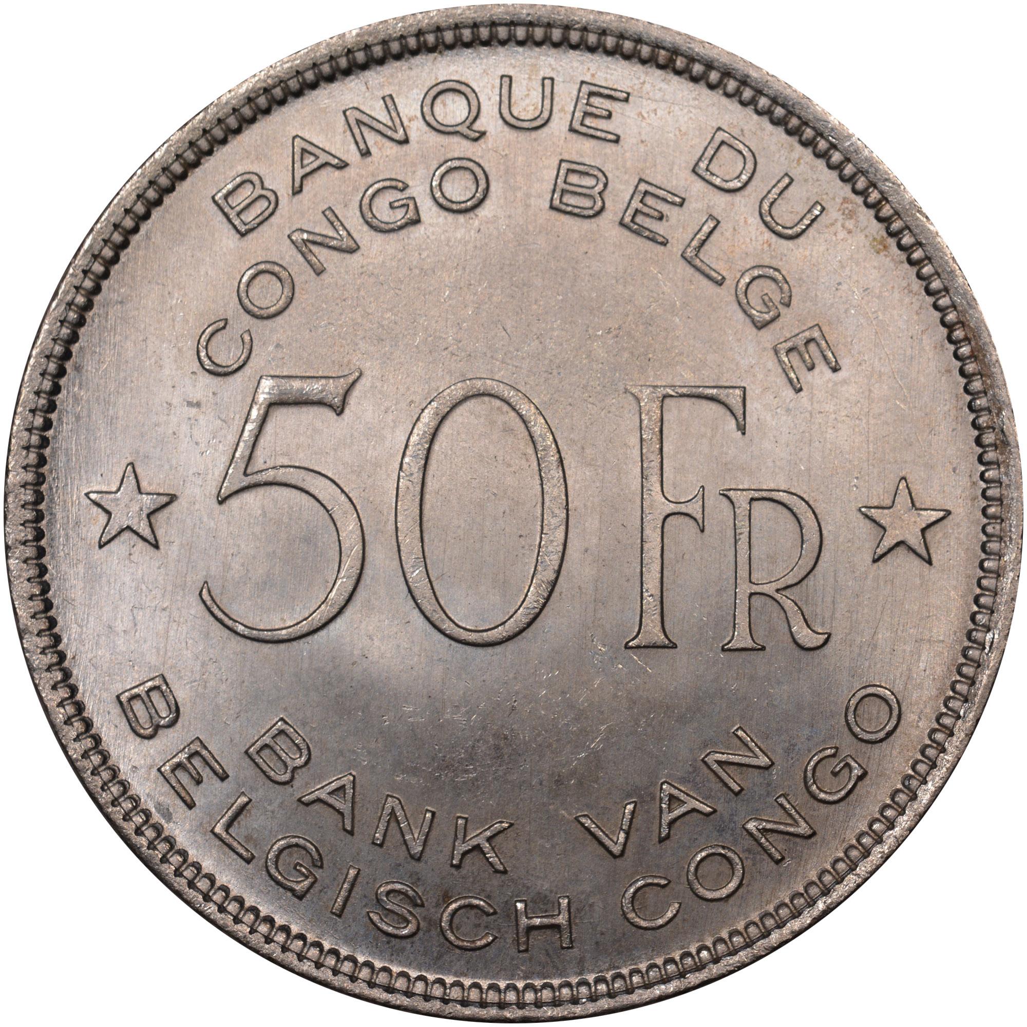 1944 Belgian Congo 50 Francs obverse