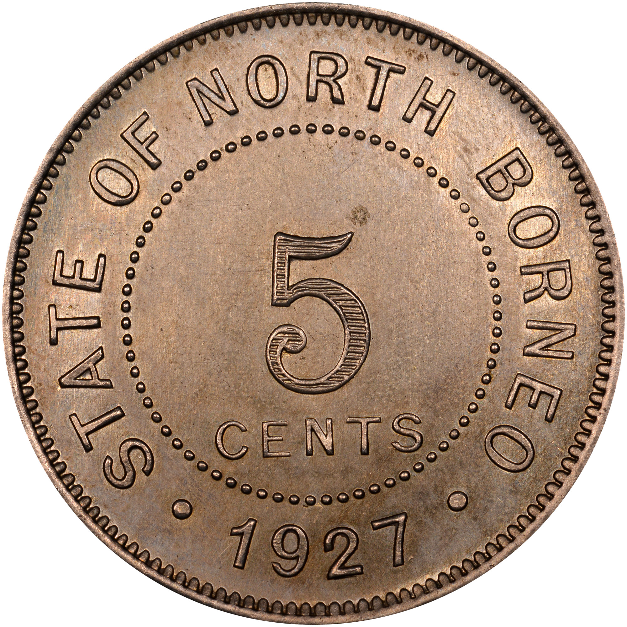 1903-1941 British North Borneo 5 Cents obverse