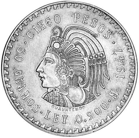 1947-1948 Mexico 5 Pesos KM 465 Prices & Values | NGC
